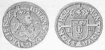 Öre anno 1575, med Johan III avbildad på framsidan och Tre Kronor och Vasaättens kärve på baksidan.
