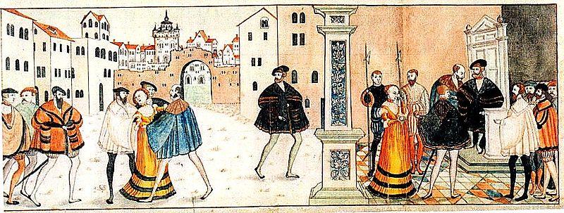 Del av Gustav Vasas triumf. Kvinnan i gult är den katolska kyrkan som Gustav övermannat.
