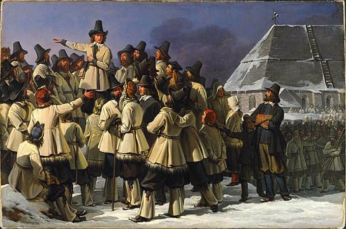 Gustav Vasa i Mora. Fresk i Vasakoret, Uppsala domkyrka.